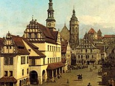The marketplace of Pirna by Canaletto